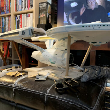 Polar Lights Refit Enterprise: Re-deco log, Part 1, more sanding (hi Garak)
