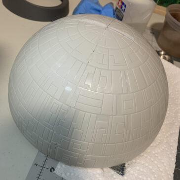 Death Star Build Log - AMT Ertl Death Star sanding seams