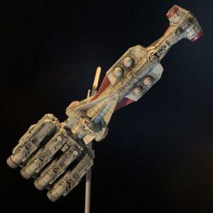 Death Star Mobile Build Log Part 3 - Bandai 1:1000 Blockade Runner complete, top view