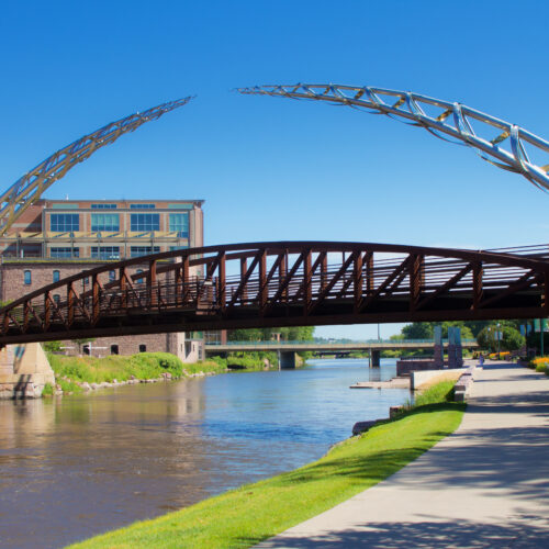 The bike and walking trail in downtown Sioux Falls South Dakota, a public city park trail featuring a scenic historic location and modern art along the trail. A popular visitors destination for tourists and local residents.