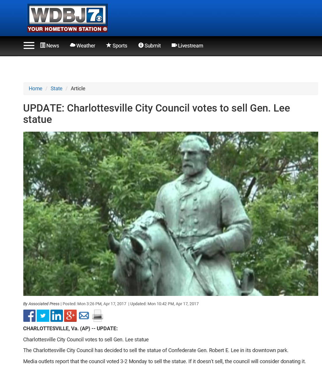 Council Votes to Sell Lee Monument