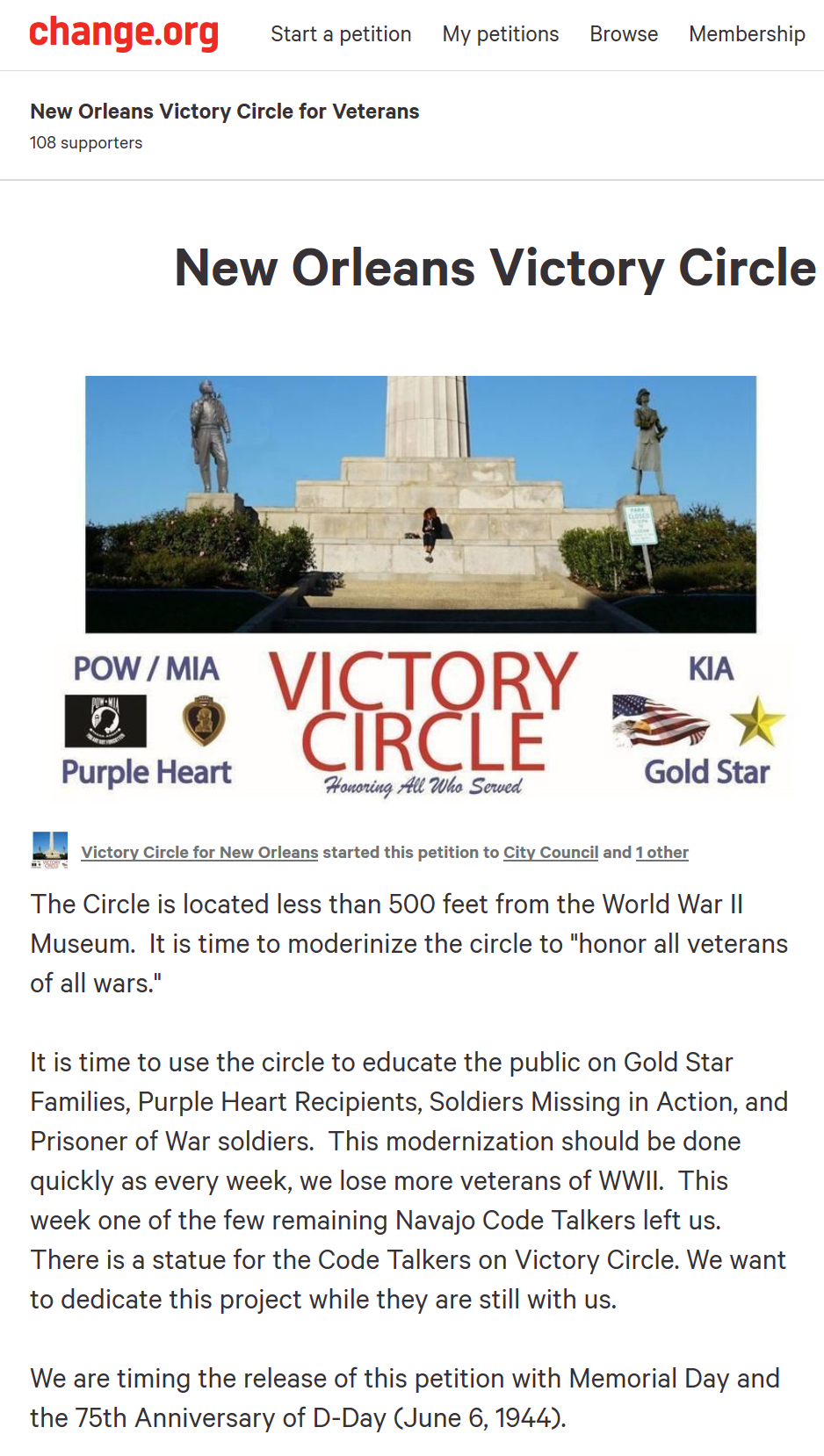 Victory Circle Petition 108
