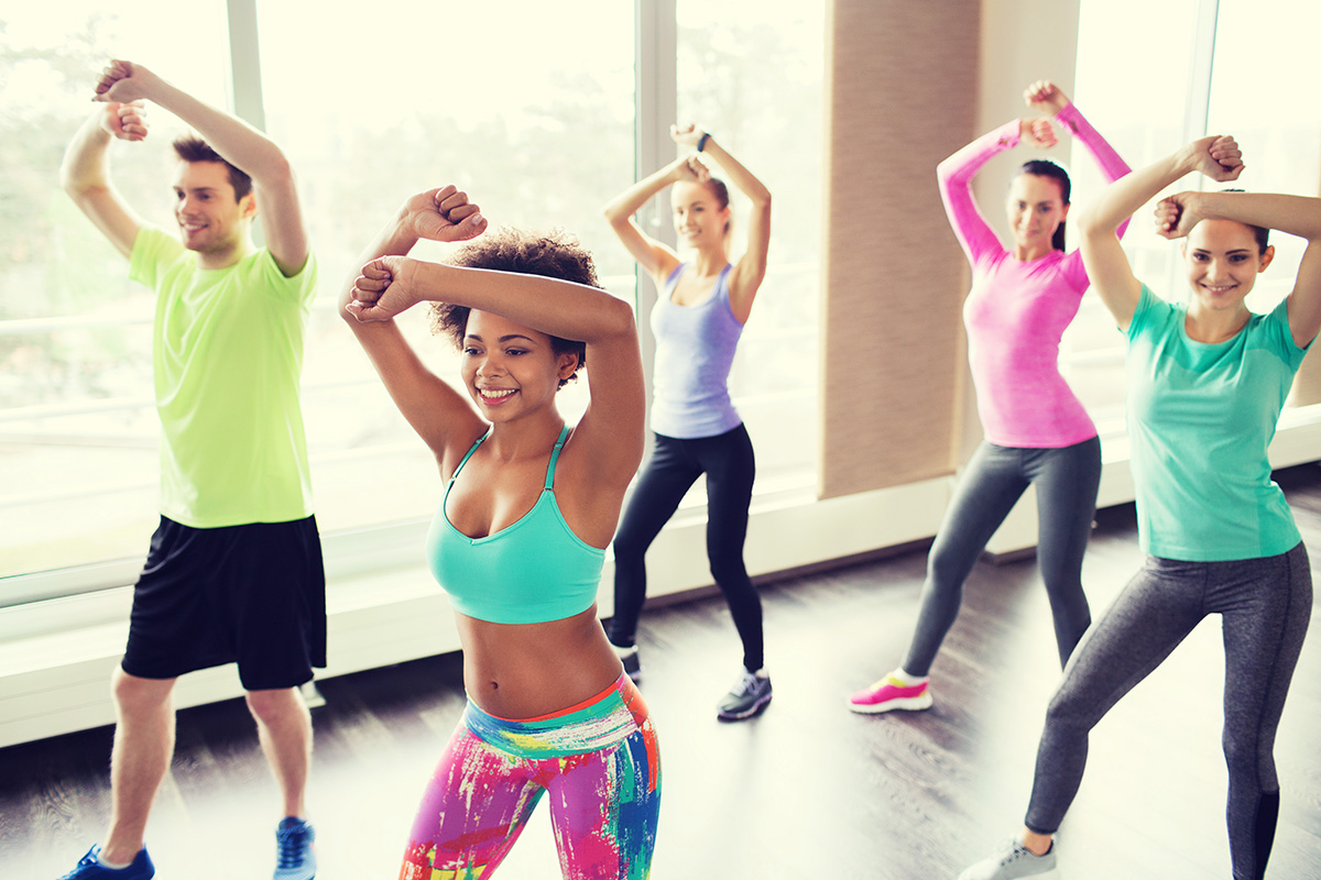 Fitness, Sport, Dance, And Lifestyle Concept - Group Of Smiling