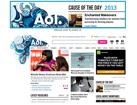 AOL Cause of the day