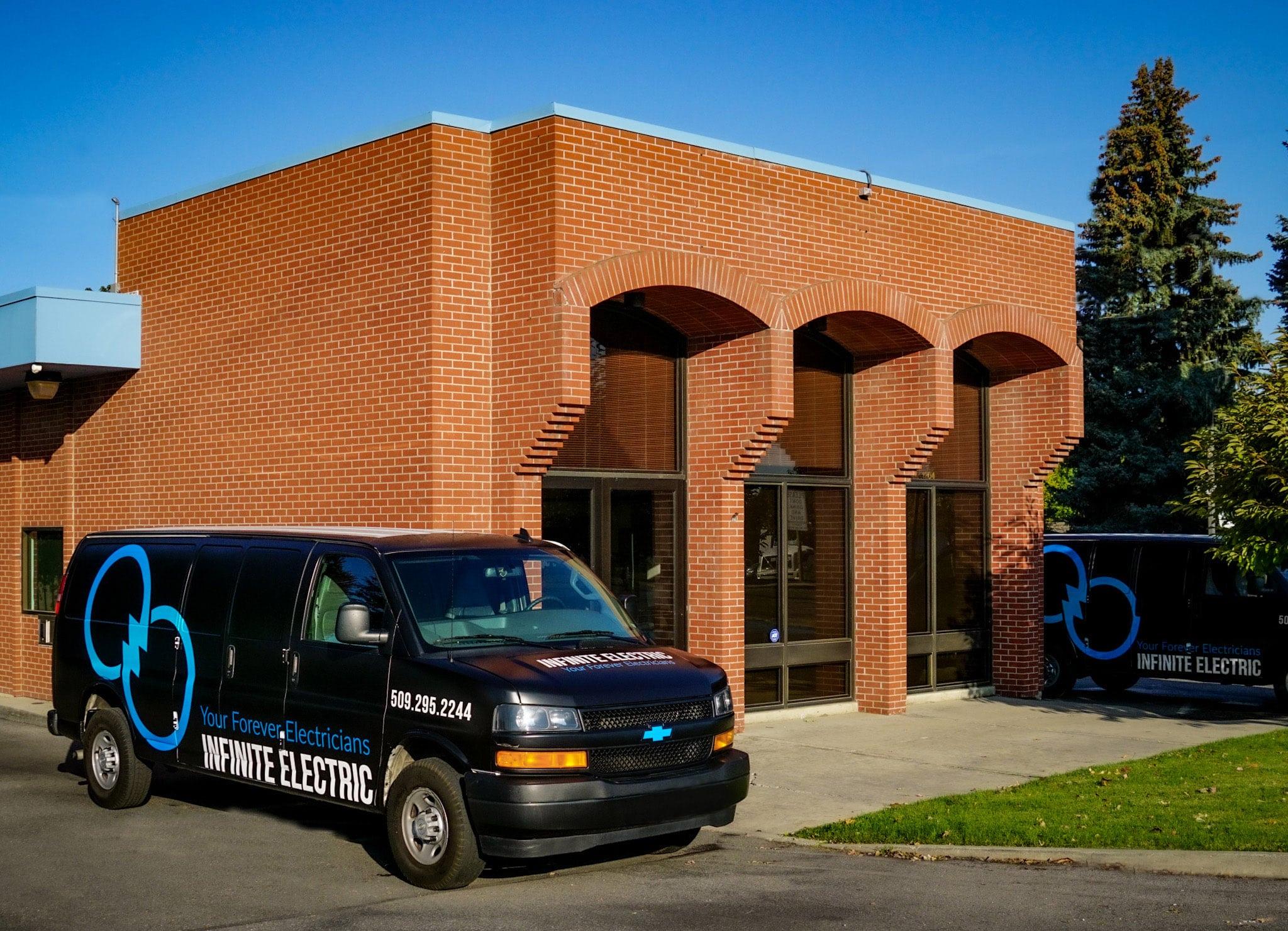 Infinite Electrics Service Van outside of their HQ in Spokane Valley