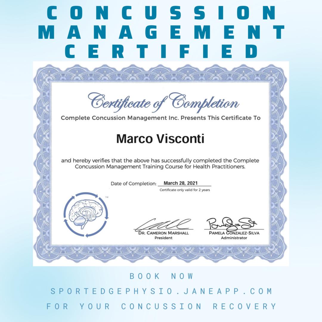 Concussion certificate Marco Sport Edge Physio