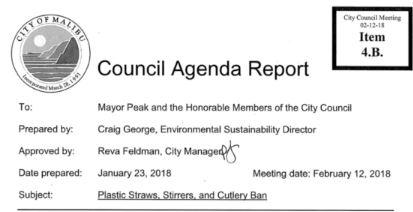 straw ban - council agenda