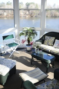 The home includes a sunroom, inside of which sits a flamingo that is illuminated when the Hargroves entertain guests in the evening.