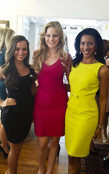 (Left to right) Jill Vinzant, Katie Hilyer and Jessica Swindle pause for a picture together at a luncheon after the Miss Alabama orientation.