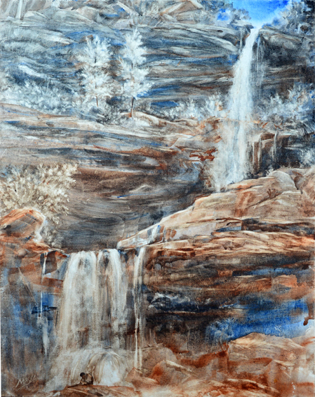 """""""Brahm at Kaaterskill Falls"""" - (plein air) watercolor on on Fredrix canvas paintboard, 20""""x16"""""""