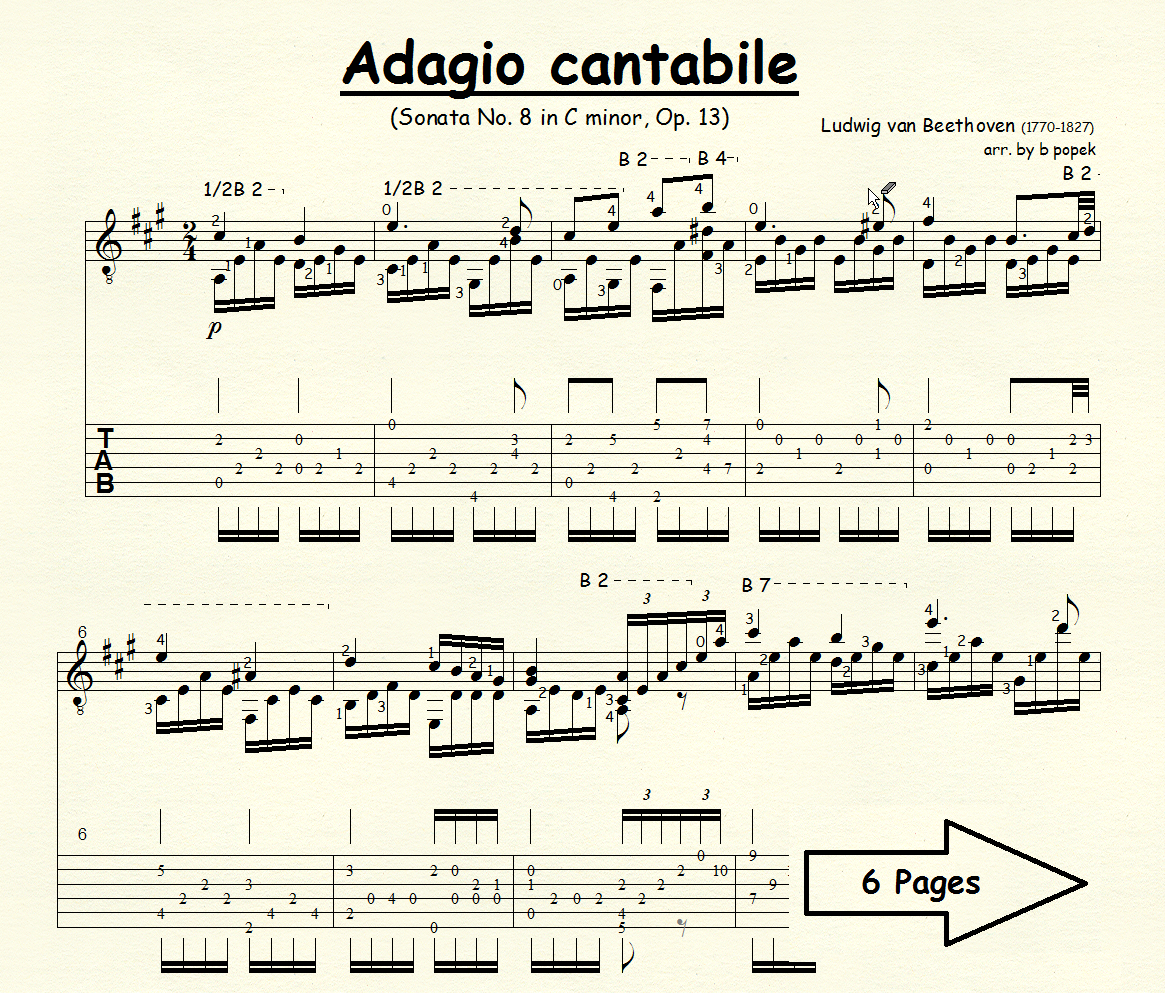 Adagio Cantabile (Beethoven) for Classical Guitar in Tablature