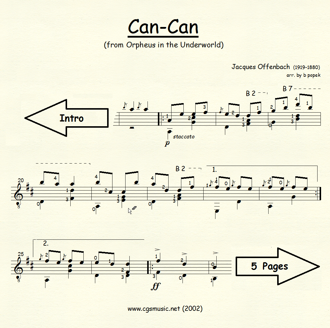 Can-Can (Offenbach) for Classical Guitar in Standard Notation