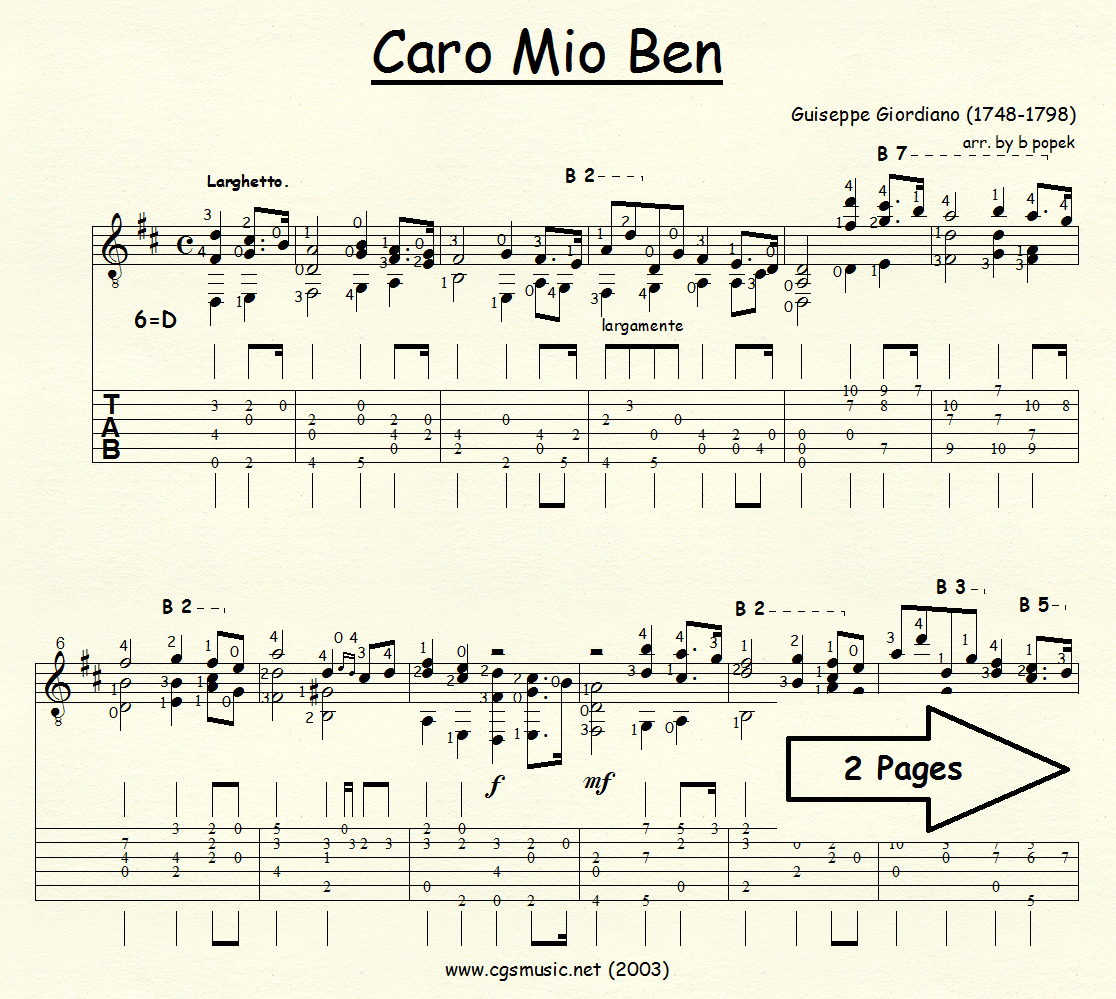 Cario Mio Ben (Giordiano) for Classical Guitar in Tablature