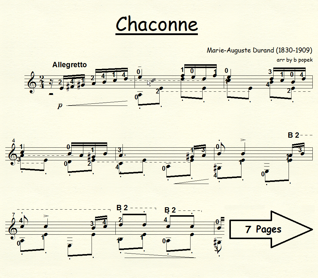 Chaconne (Durand) for Classical Guitar in Standard Notation