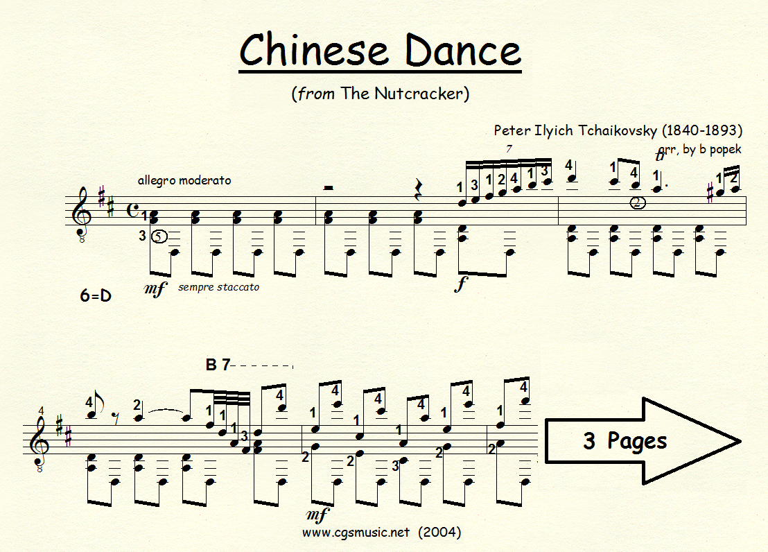 Chinese Dance (Tchaikovsky) from The Nutcracker Suite for Classical Guitar in Standard Notation
