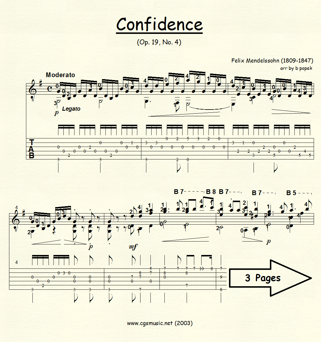 Confidence (Mendelssohn) for Classical Guitar in Tablature