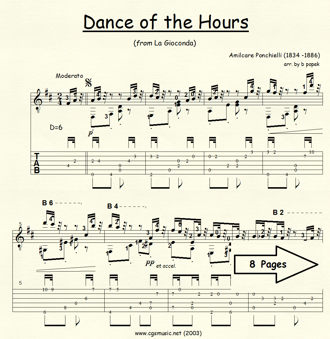 Dance of the Hours (Ponchielli) for Classical Guitar in Tablature