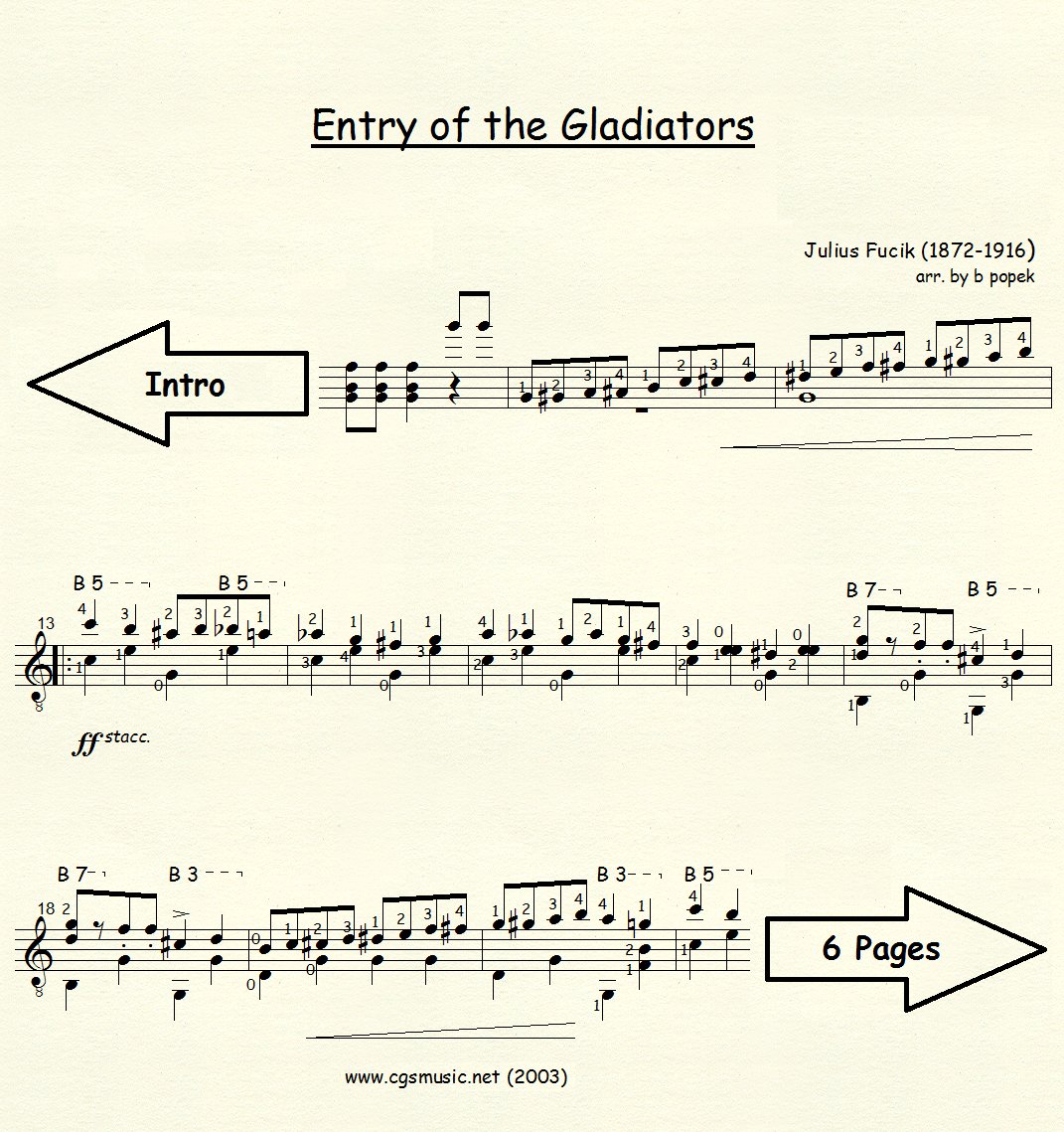 Entry of the Gladiators (Fucik) for Classical Guitar in Standard Notation