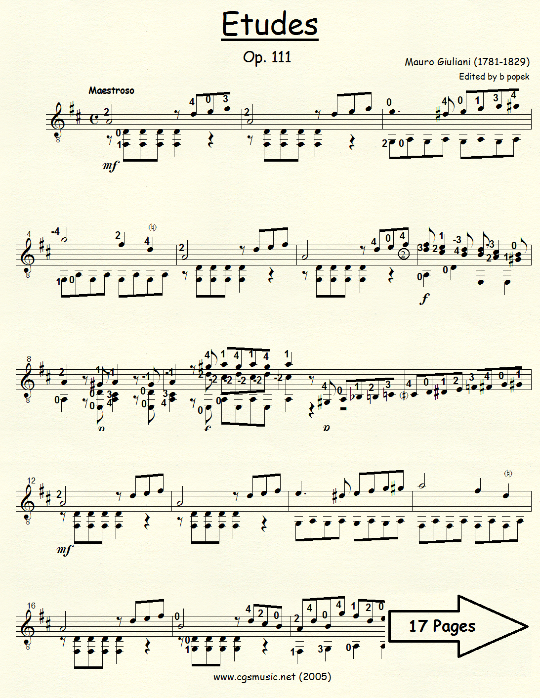 Etudes Op 111 (Giuliani) for Classical Guitar in Standard Notation