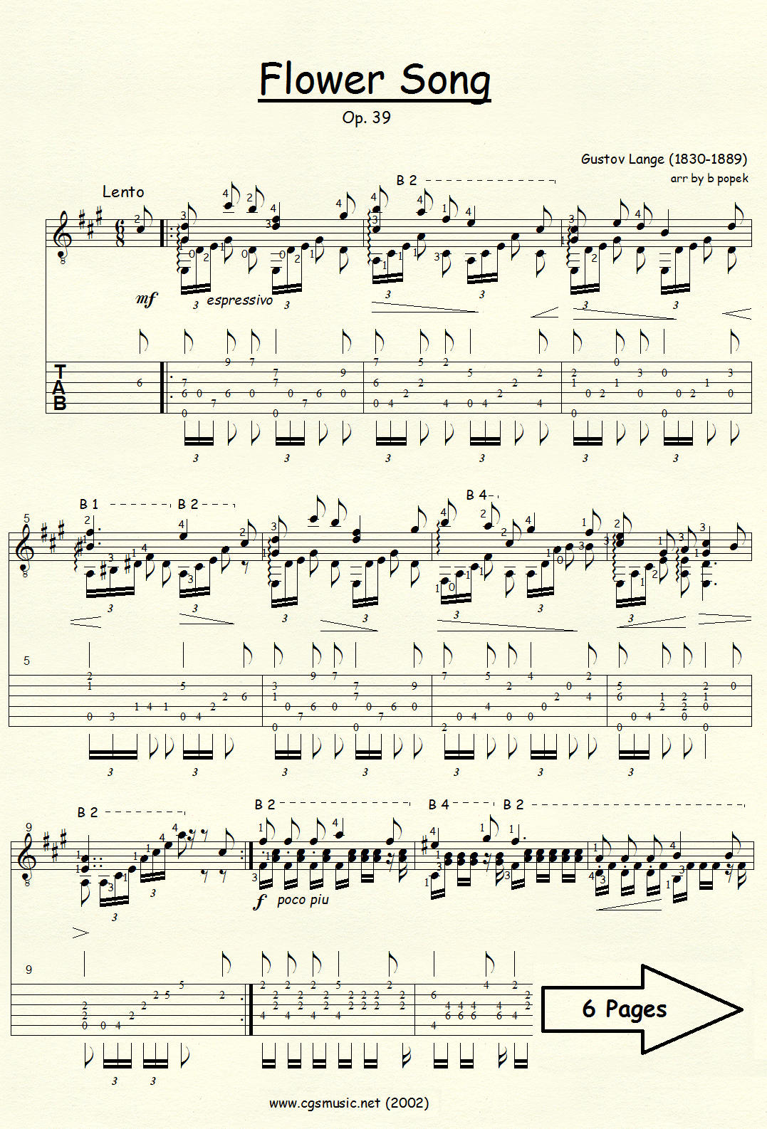 Flower Song (Lange) for Classical Guitar in Tablature