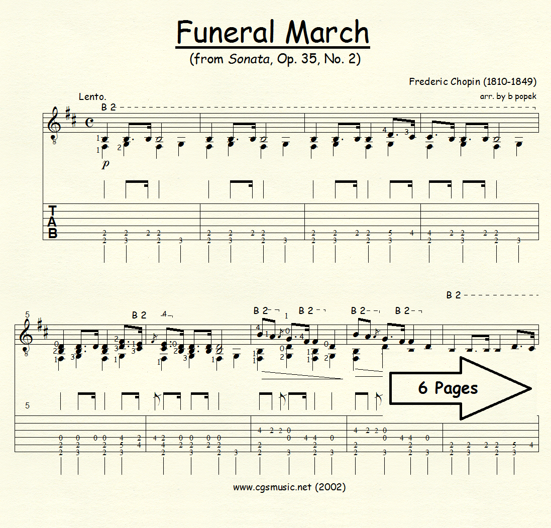 Funeral March from Sonata Op. 35 #2 (Chopin) for Classical Guitar in Tablature