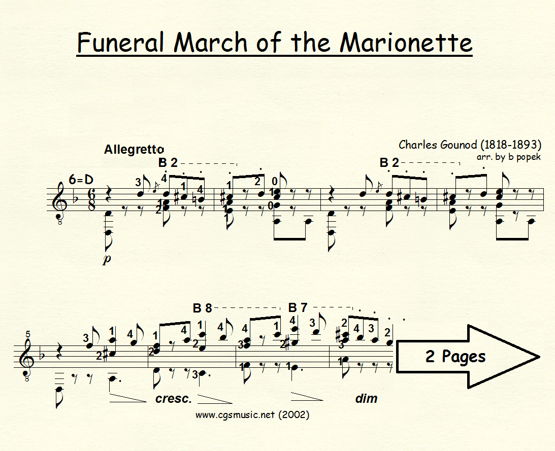 Funeral March of the Marionette (Gounod) for Classical Guitar in Standard Notation