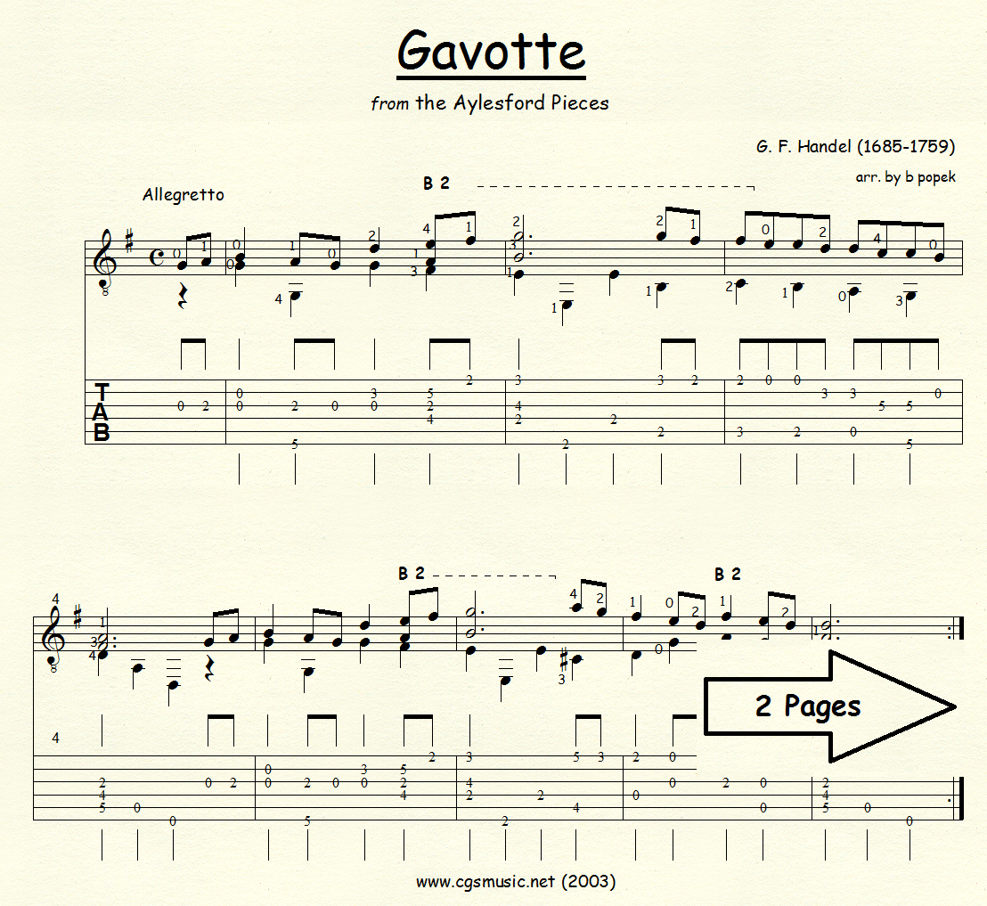 Gavotte (Handel) for Classical Guitar in Tablature