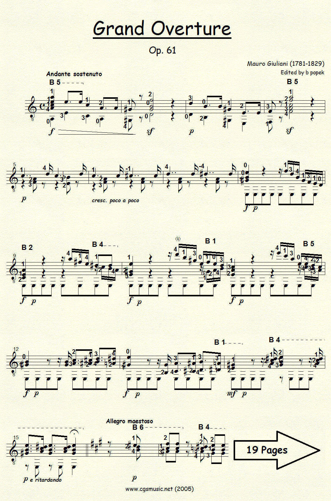Grand Overture Op 61 (Giuliani) for Classical Guitar in Standard Notation