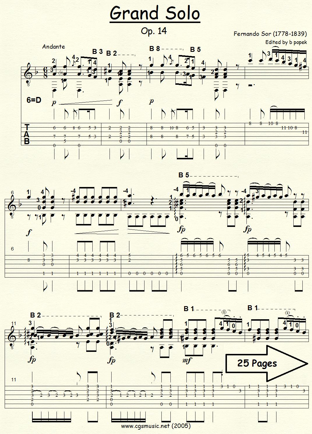 Grand Solo Op 14 (Sor) for Classical Guitar in Tablature