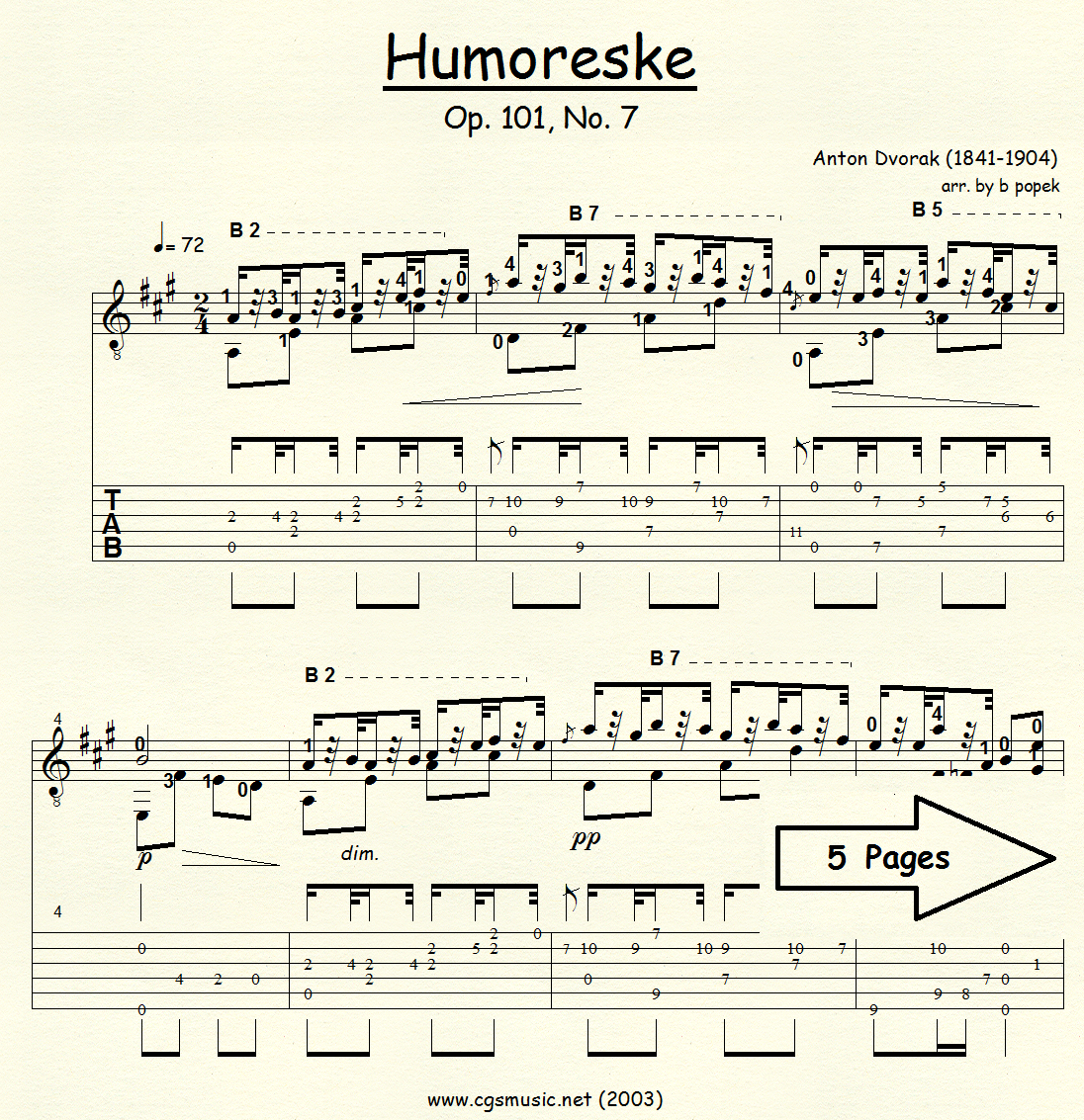 Humoreske Op.101, No. 7 (Dvorak) for Classical Guitar in Tablature