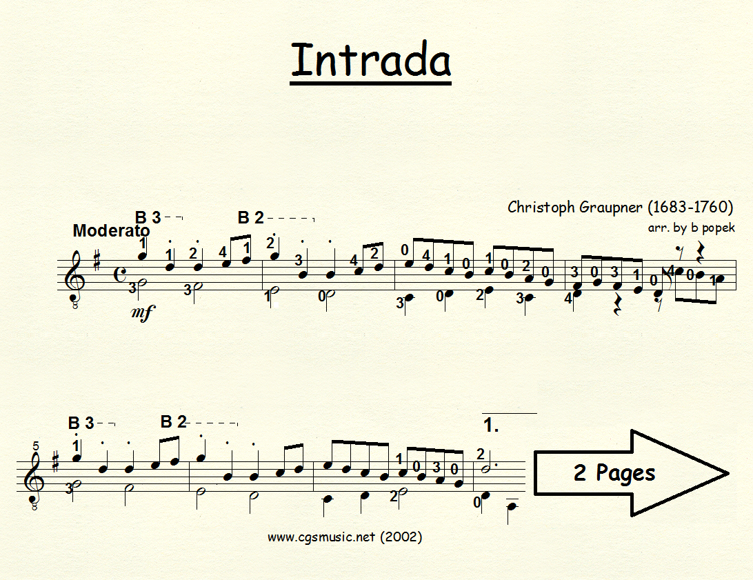 Intrada (Graupner) for Classical Guitar in Standard Notation