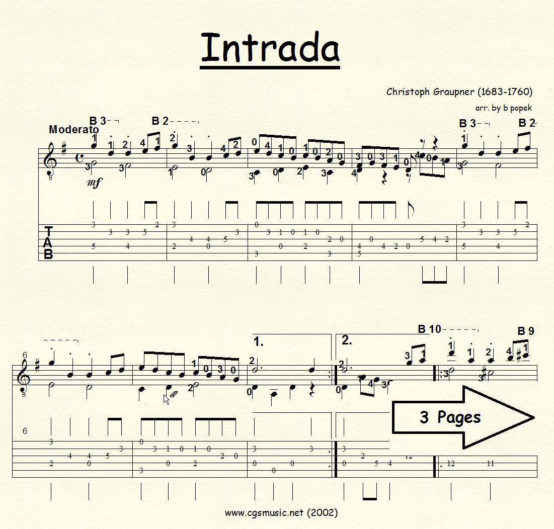 Intrada (Graupner) for Classical Guitar in Tablature