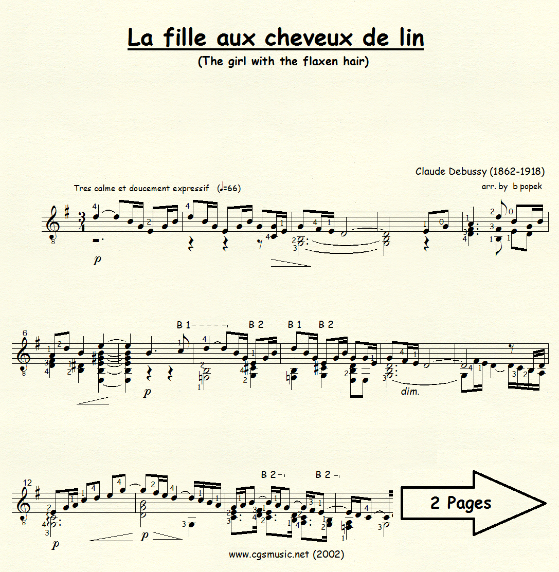 La fille aux cheveux de lin (Debussy) for Classical Guitar in Standard Notation