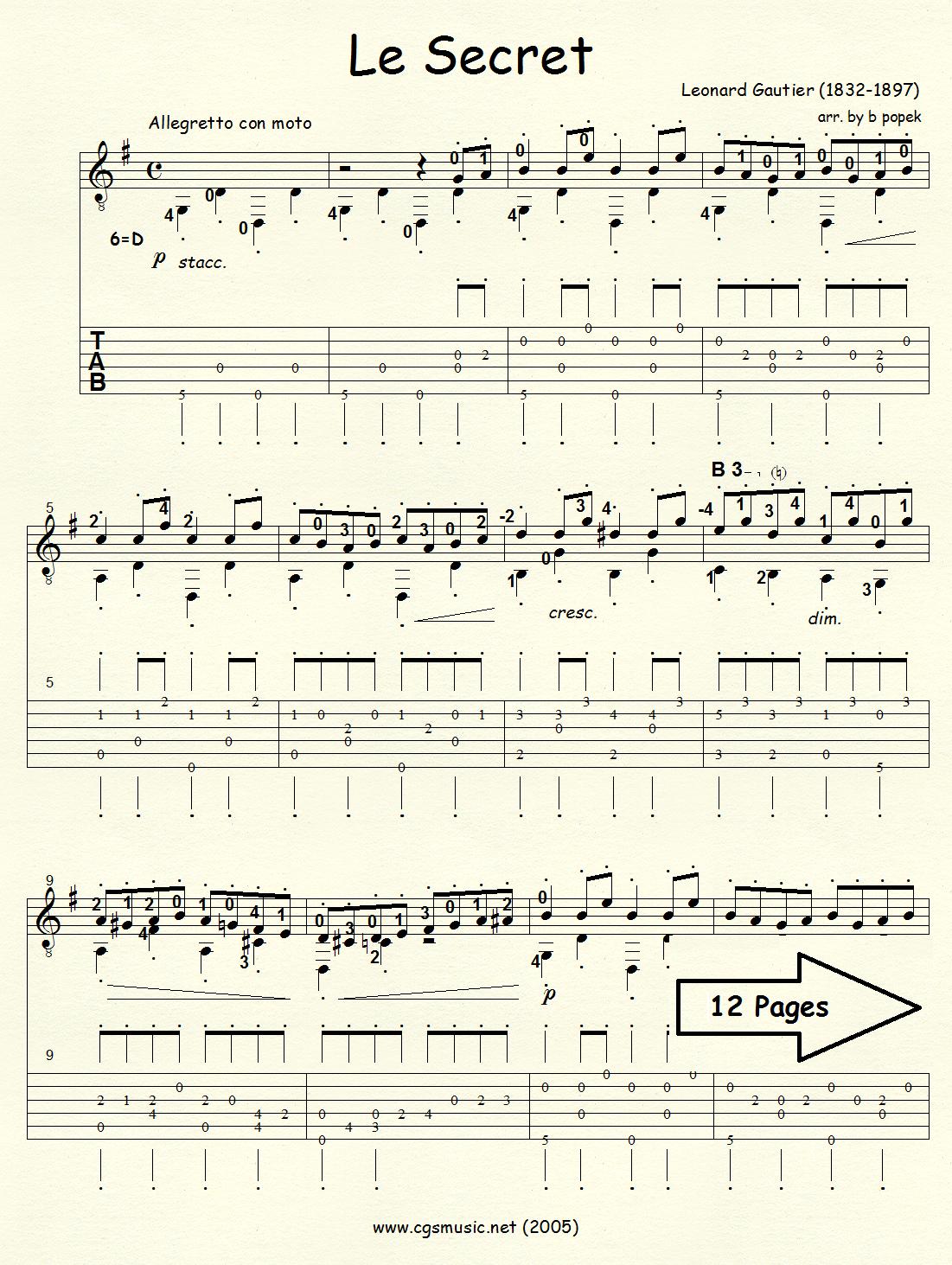 Le Secret (Gautier) for Classical Guitar in Tablature