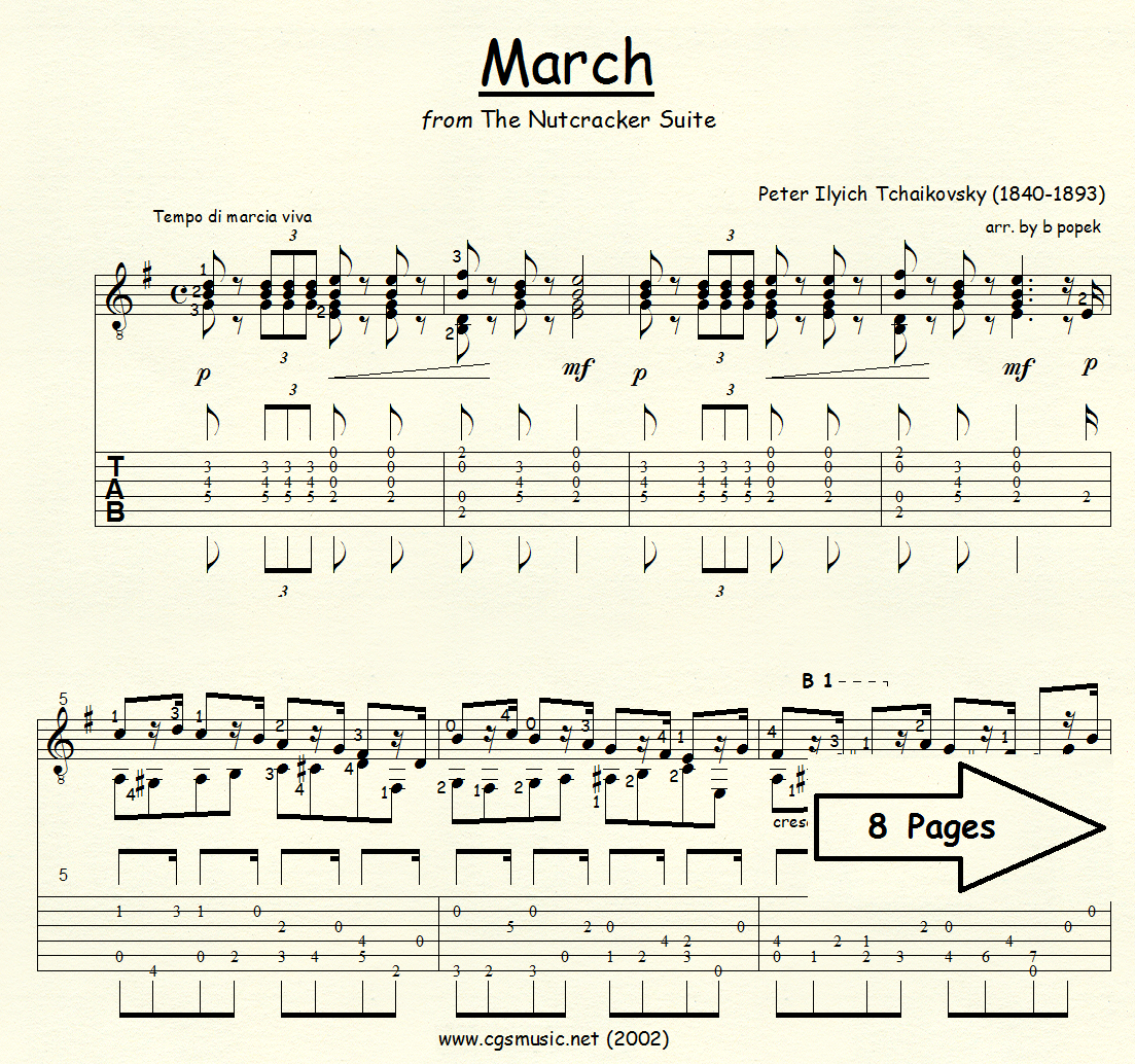 March from The Nutcracker Suite (Tchaikovsky) for Classical Guitar in Tablature