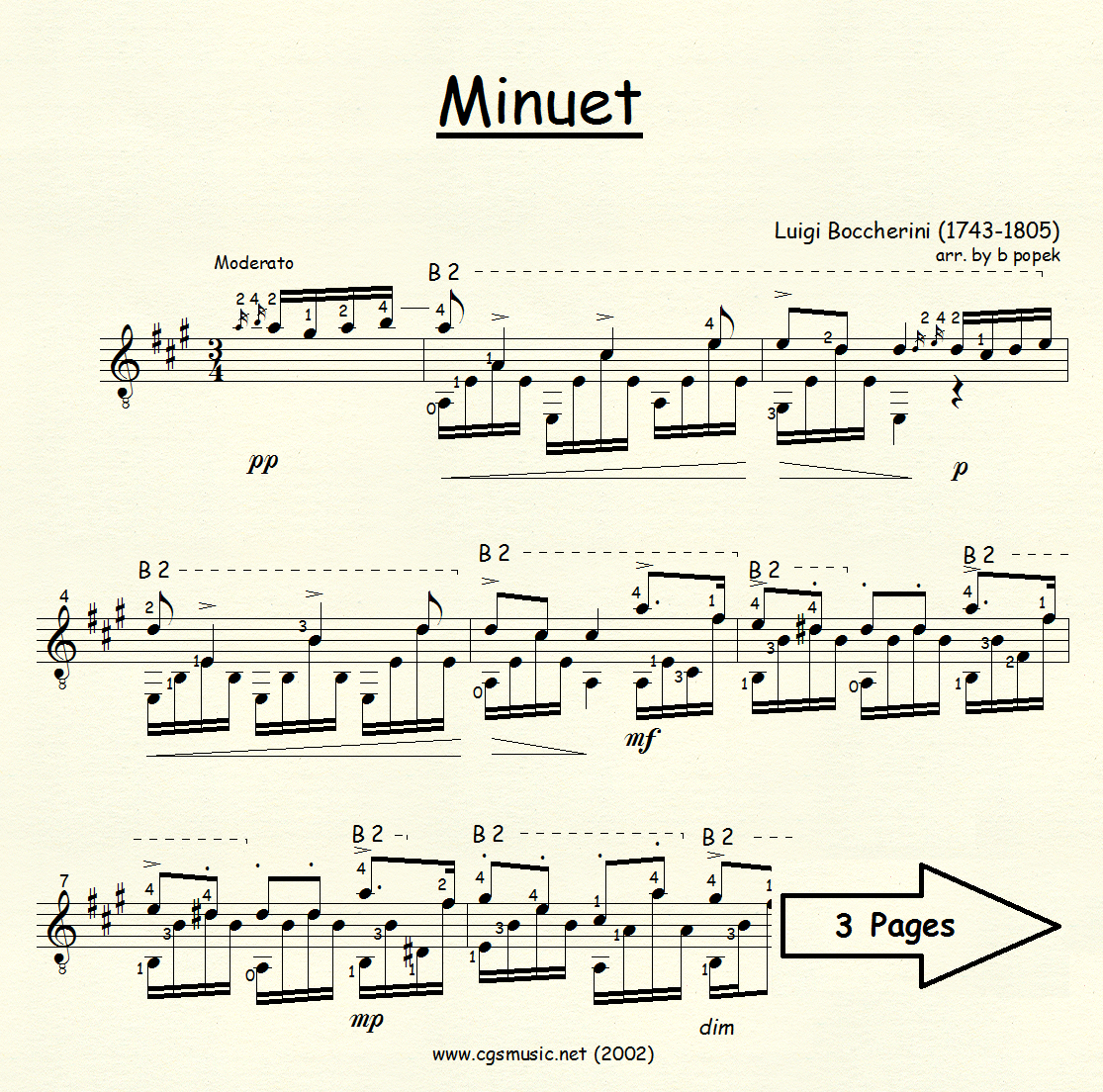 Minuet (Boccherini) for Classical Guitar in Standard Notation