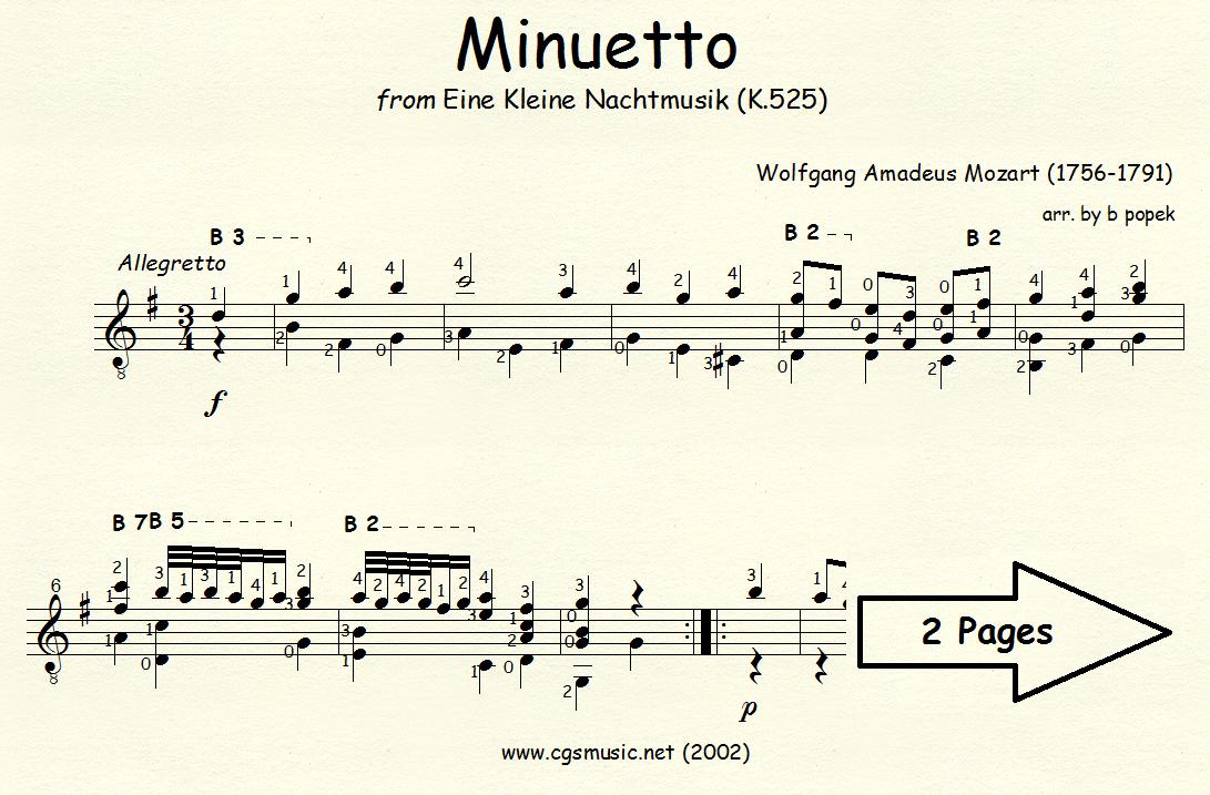 Minuetto from Eine Kleine Nachtmusik (Mozart) for Classical Guitar in Standard Notation
