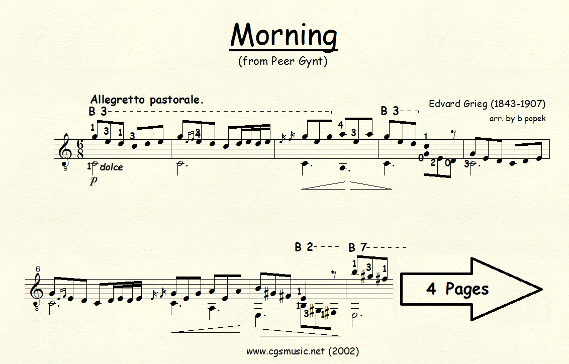 Morning (Grieg) for Classical Guitar in Standard Notation