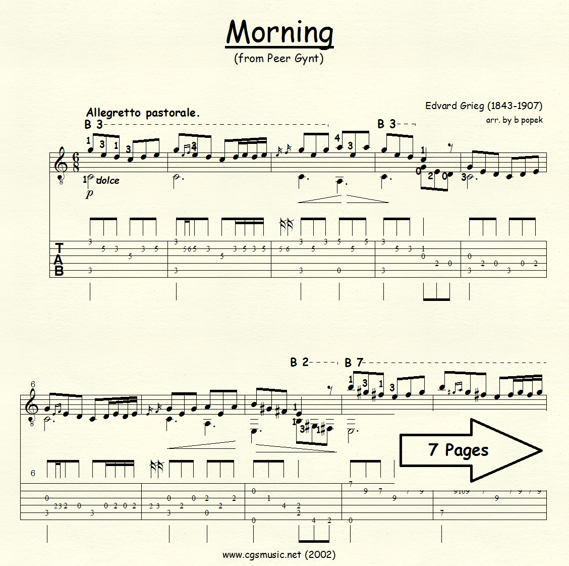 Morning (Grieg) for Classical Guitar in Tablature