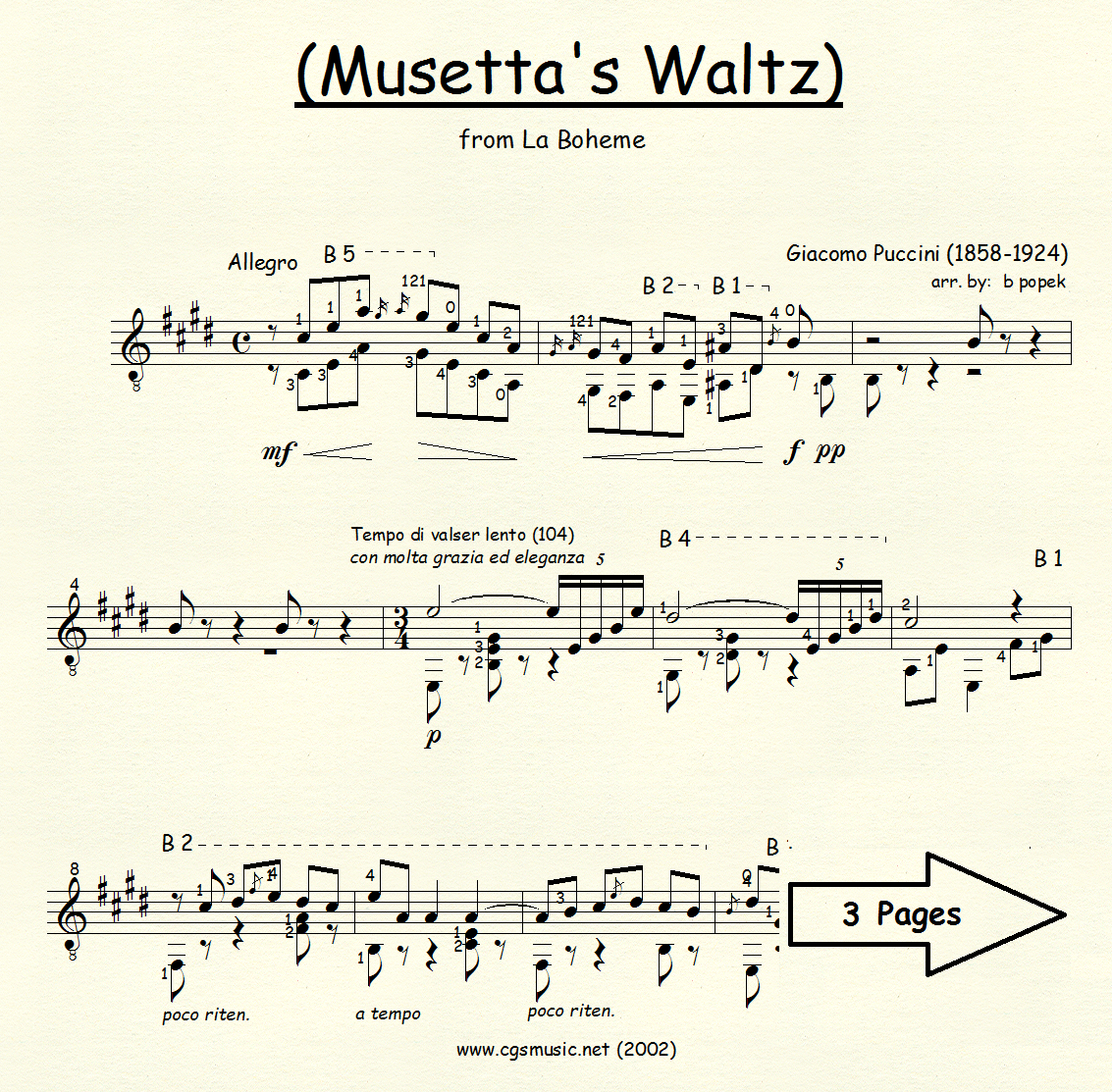 Musetta's Waltz (Puccini) for Classical Guitar in Standard Notation
