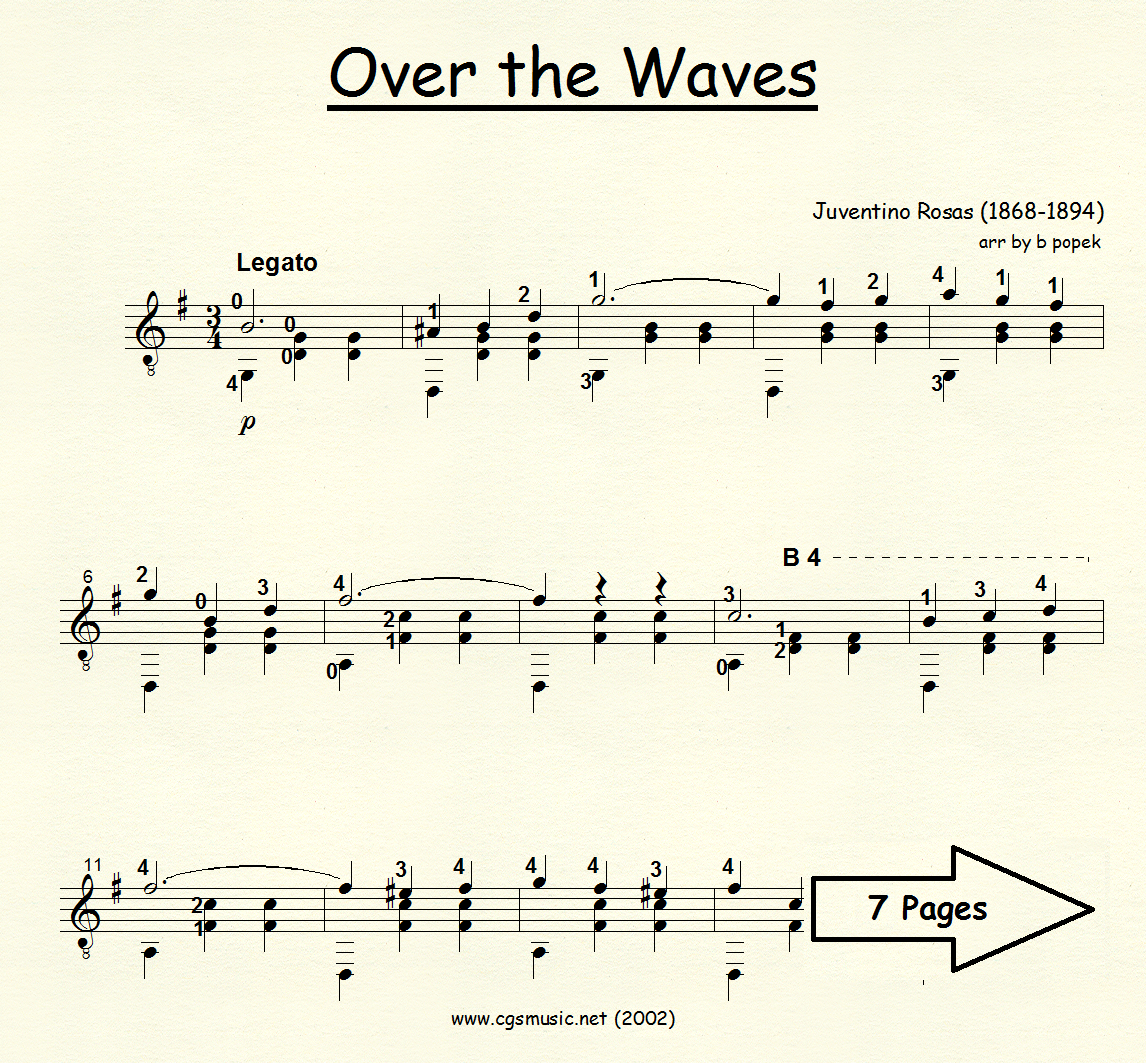 Over the Waves (Rosas) for Classical Guitar in Standard Notation
