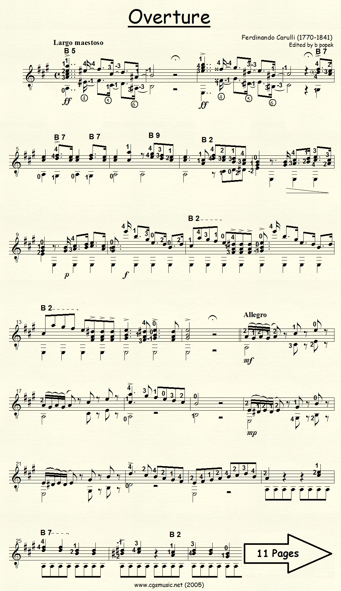 Overture (Carulli) for Classical Guitar in Standard Notation