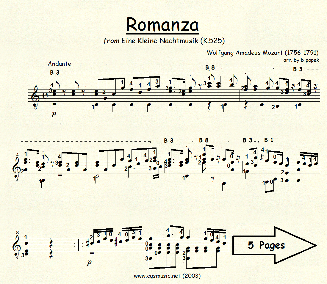 Romanza from Eine Kleine Nachtmusik (Mozart) for Classical Guitar in Standard Notation