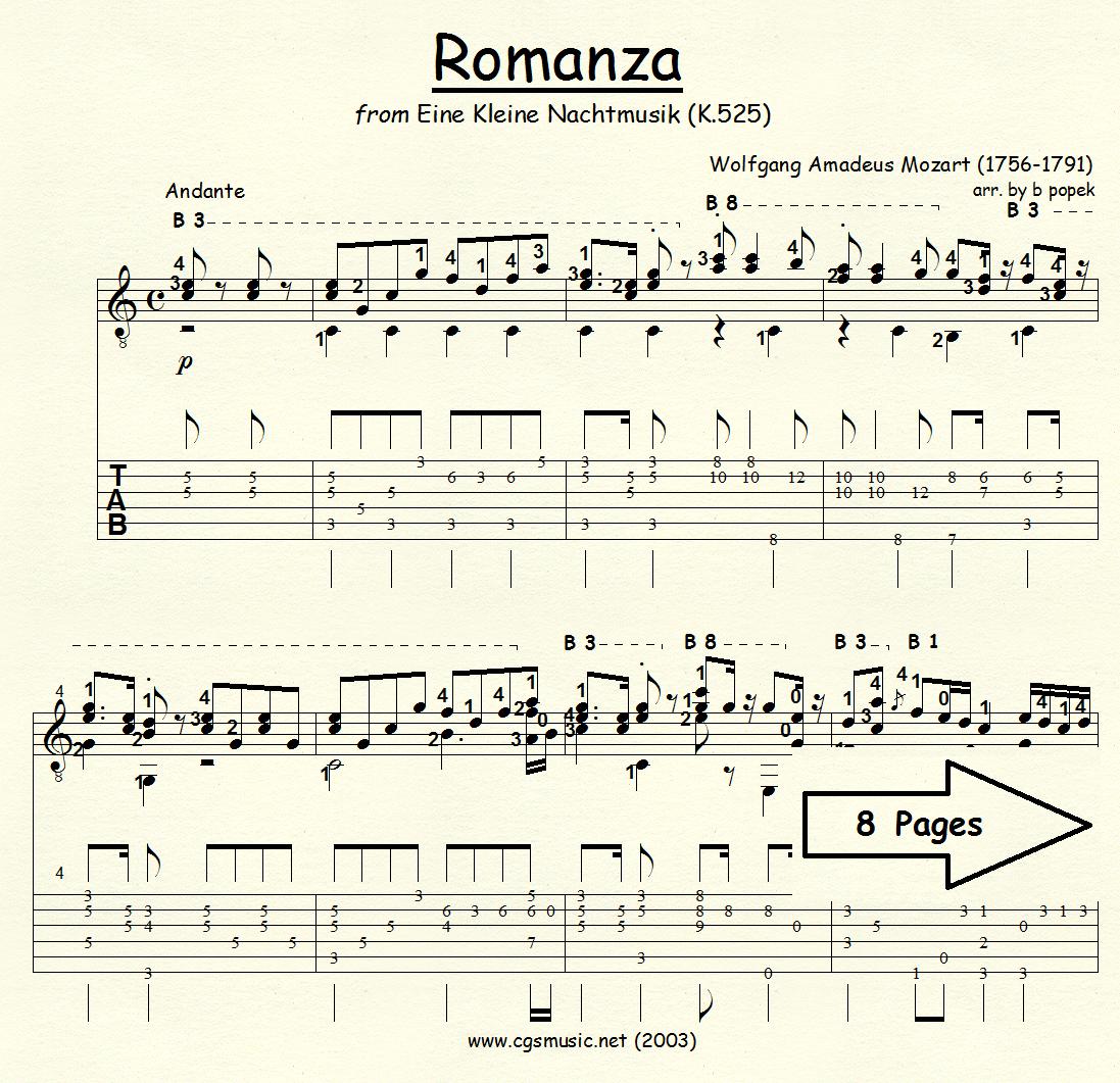 Romanza from Eine Kleine Nachtmusik (Mozart) for Classical Guitar in Tablature