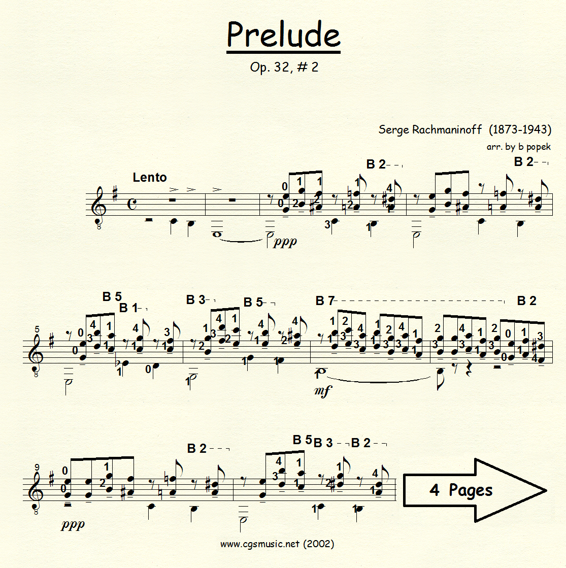 Prelude Op 32 #2 (Rachmaninoff) for Classical Guitar in Standard Notation
