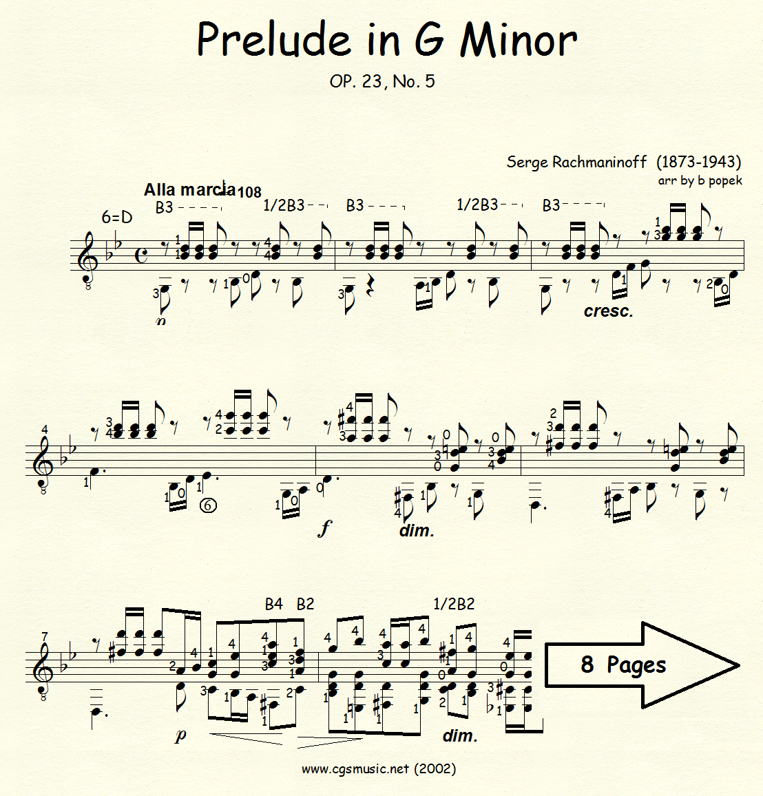 Prelude in G Minor Op 23 #5 (Rachmaninoff) for Classical Guitar in Standard Notation
