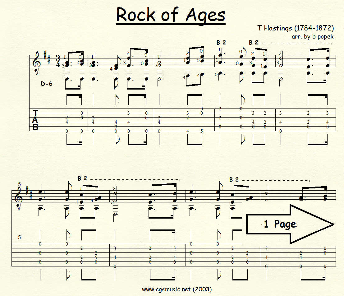 Rock of Ages (Hastings) for Classical Guitar in Tablature