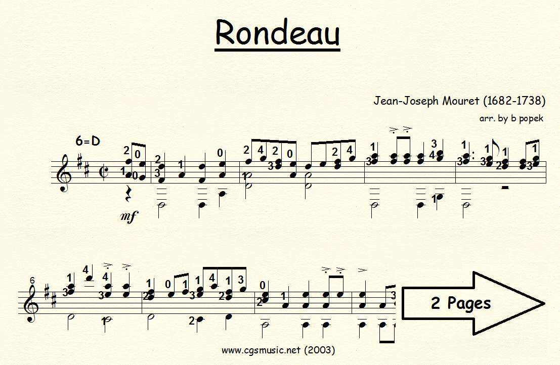 Rondeau (Mouret) for Classical Guitar in Standard Notation