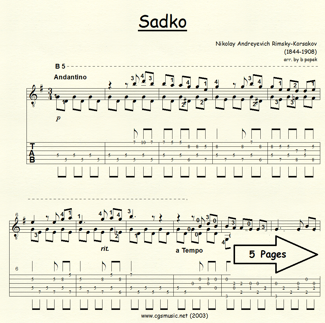 Sadko Song of India (Rimsky-Korsakov) for Classical Guitar in Tablature