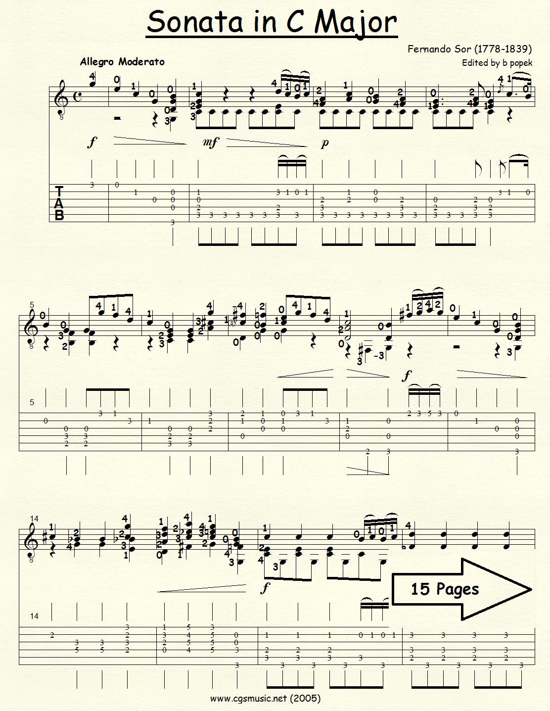 Sonata in C Major (Sor) for Classical Guitar in Tablature